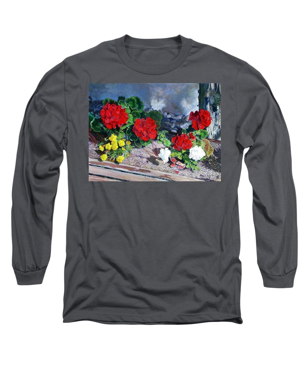 Colorful Flowers Outside Of The Church Long Sleeve T-Shirt featuring the painting Flowers At Church by Scott Robertson