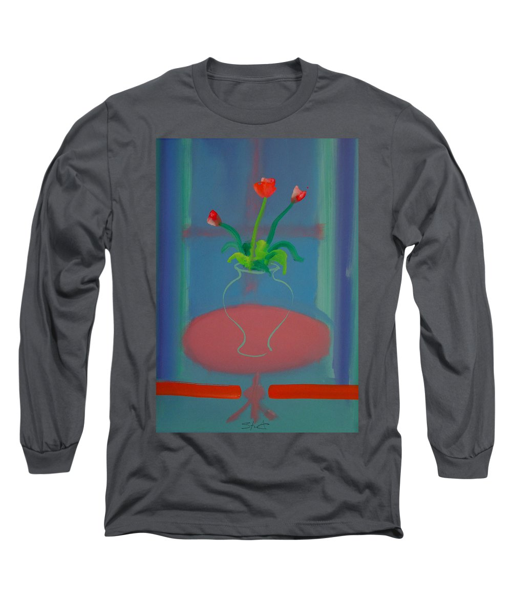Dufy Long Sleeve T-Shirt featuring the painting Flowers In A Bay Window by Charles Stuart