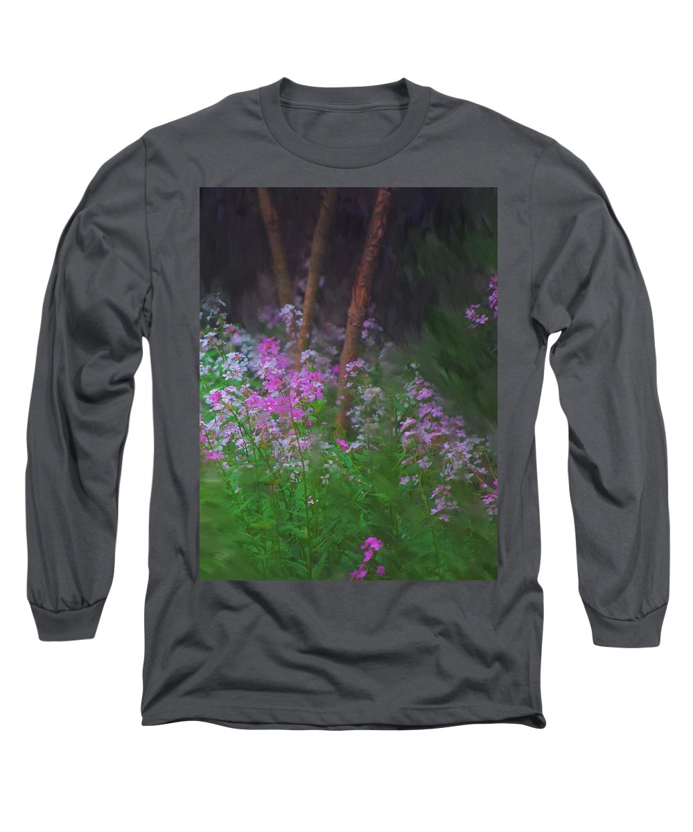 Landscape Long Sleeve T-Shirt featuring the painting Flowers In The Woods by David Lane