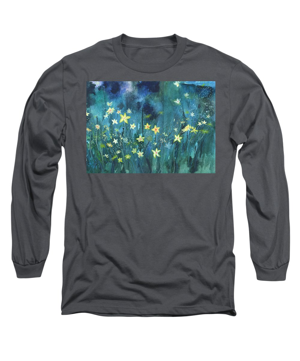 Landscape Long Sleeve T-Shirt featuring the painting Flowers N Breeze by Anil Nene