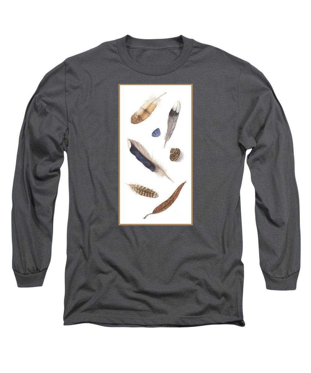 Feathers Long Sleeve T-Shirt featuring the painting Found Treasures by Lucy Arnold