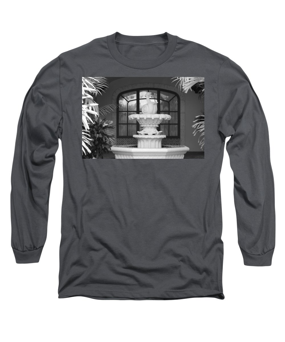 Architecture Long Sleeve T-Shirt featuring the photograph Fountian And Window by Rob Hans