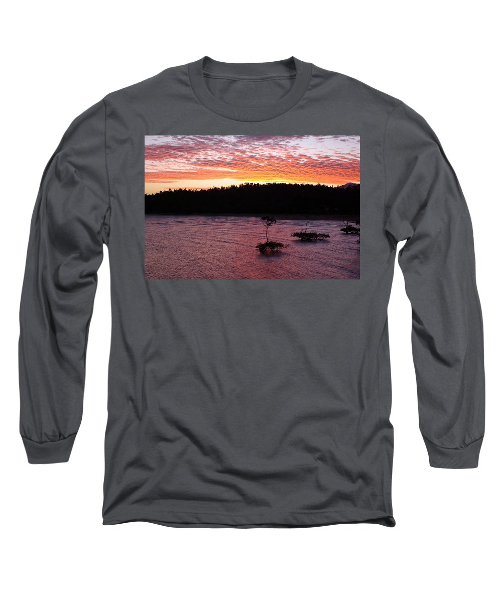 Landscape Long Sleeve T-Shirt featuring the photograph Four Elements Sunset Sequence 5 Coconuts Qld by Kerryn Madsen - Pietsch