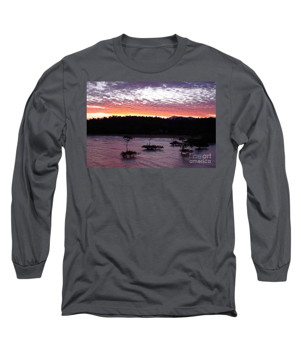 Landscape Long Sleeve T-Shirt featuring the photograph Four Elements Sunset Sequence 8 Coconuts Qld by Kerryn Madsen - Pietsch