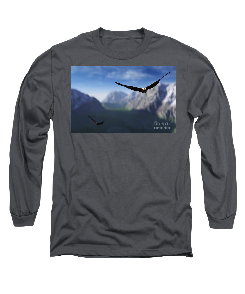 Eagles Long Sleeve T-Shirt featuring the digital art Free Bird by Richard Rizzo