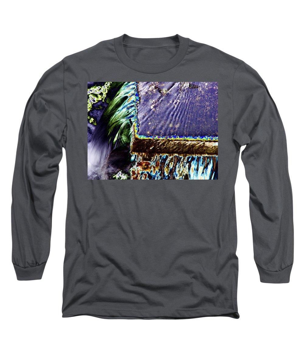 Seattle Long Sleeve T-Shirt featuring the digital art Freeway Park Waterfall by Tim Allen