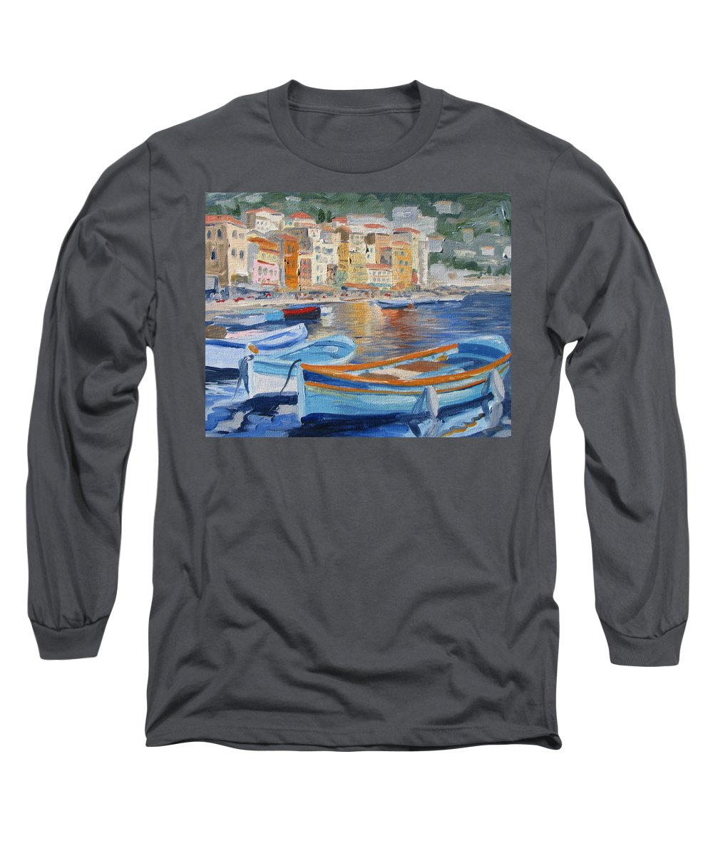 Seascape Long Sleeve T-Shirt featuring the painting French Harbor by Jay Johnson