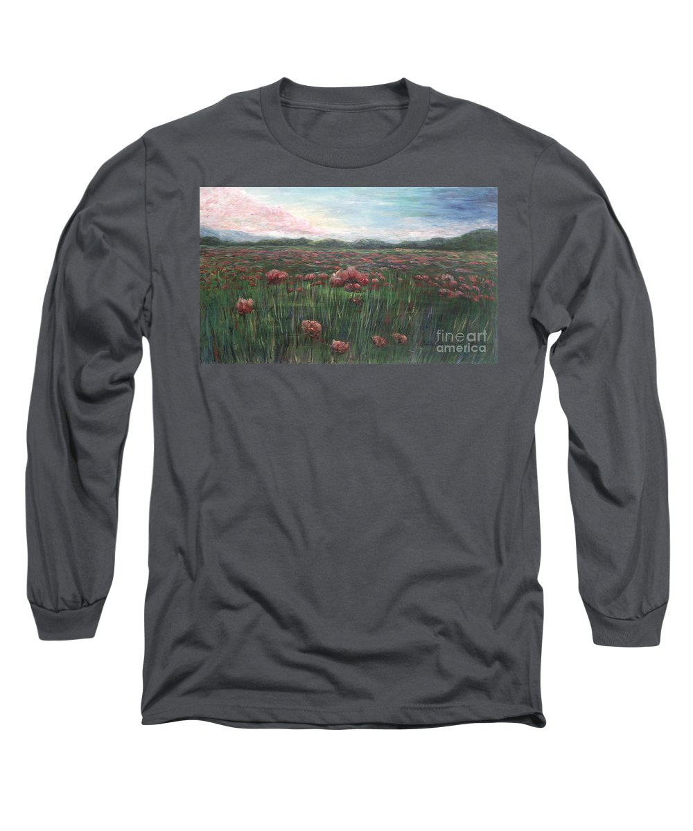 France Long Sleeve T-Shirt featuring the painting French Poppies by Nadine Rippelmeyer