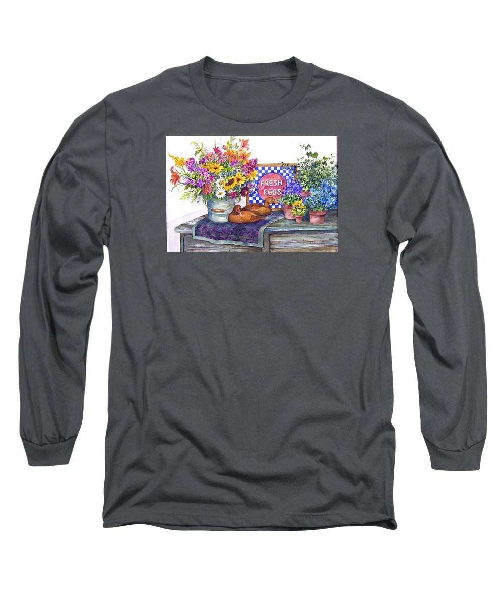 Watercolor;ducks;decoys;floral;mixed Bouquet;potted Plants;checkerboard;quilt; Long Sleeve T-Shirt featuring the painting Fresh Eggs by Lois Mountz