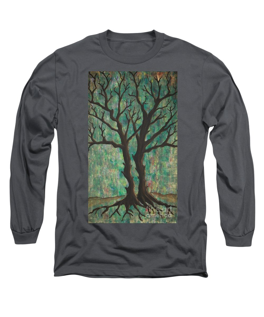 Trees Long Sleeve T-Shirt featuring the painting Friends by Jacqueline Athmann