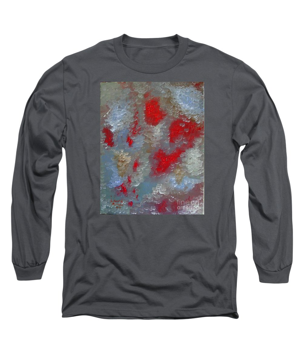 Abstract Long Sleeve T-Shirt featuring the painting Frozen Street by Laurie Morgan