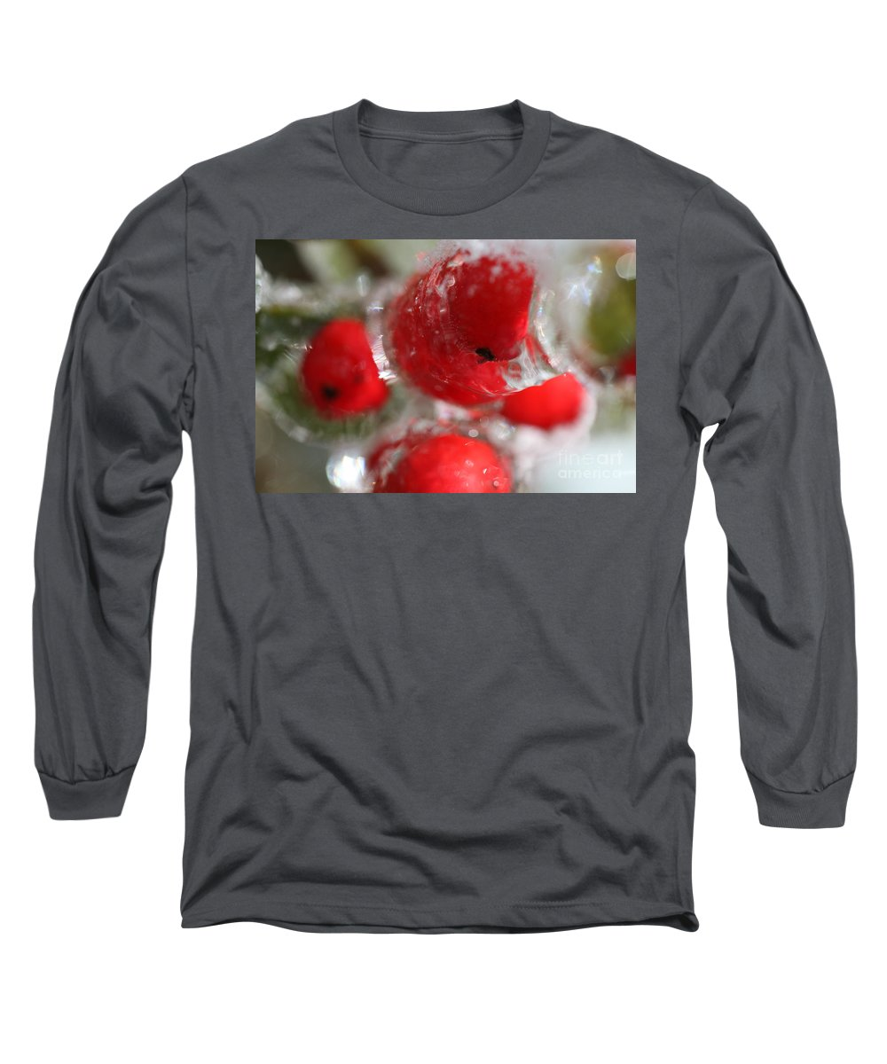 Berries Long Sleeve T-Shirt featuring the photograph Frozen Winter Berries by Nadine Rippelmeyer