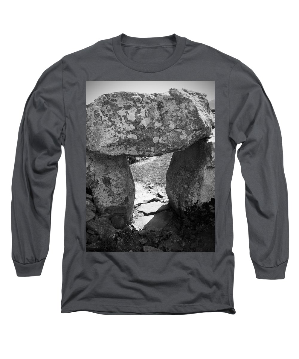 Ireland Long Sleeve T-Shirt featuring the photograph Gallery Entrance At Creevykeel Court Cairn Ireland by Teresa Mucha