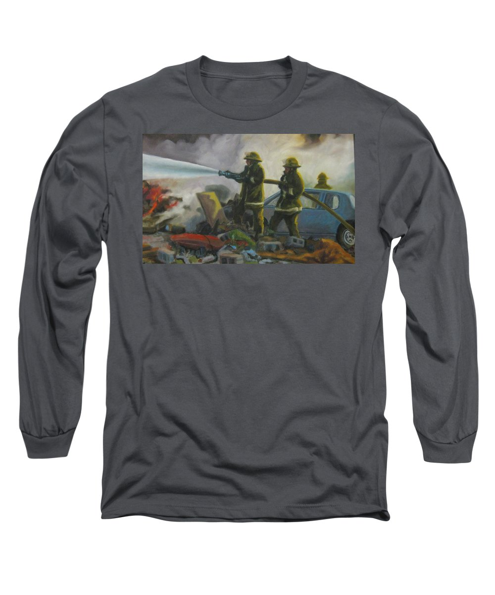 Firefighters Long Sleeve T-Shirt featuring the painting Garage Fire by John Malone
