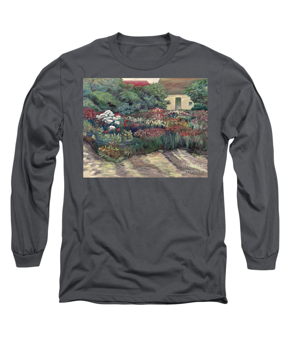 Breck Long Sleeve T-Shirt featuring the painting Garden At Giverny by Nadine Rippelmeyer