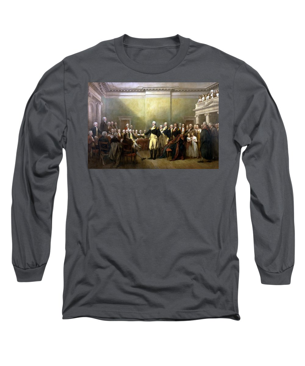 George Washington Long Sleeve T-Shirt featuring the painting General Washington Resigning His Commission by War Is Hell Store