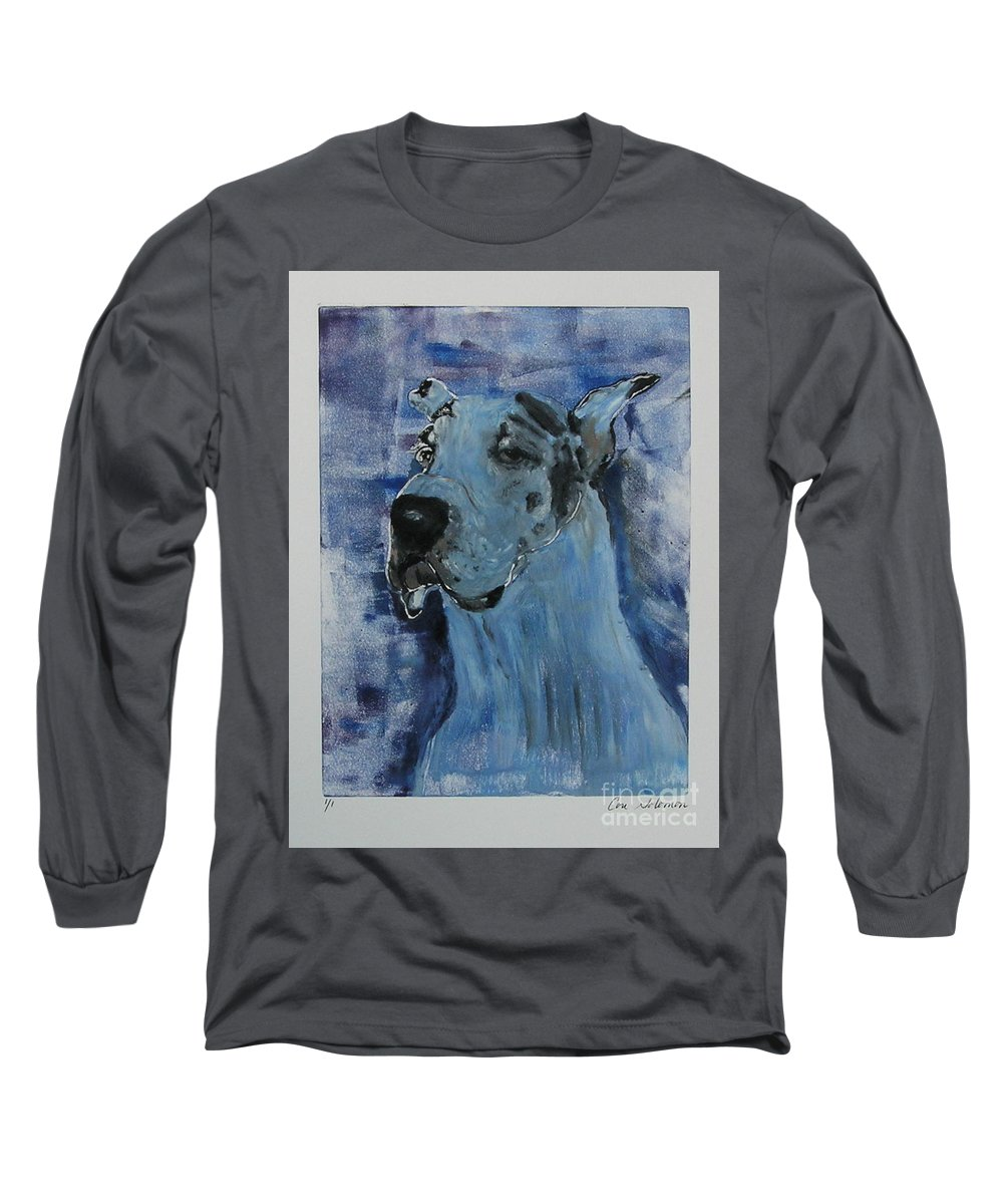 Great Dane Long Sleeve T-Shirt featuring the mixed media Gentle Giant by Cori Solomon