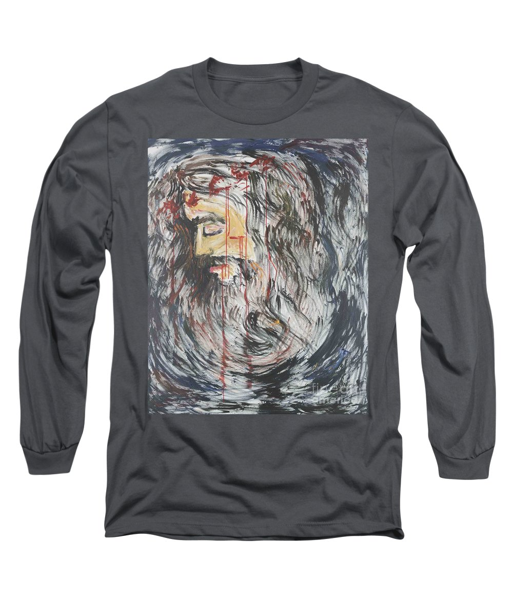 Jesus Long Sleeve T-Shirt featuring the painting Gethsemane To Golgotha IIi by Nadine Rippelmeyer