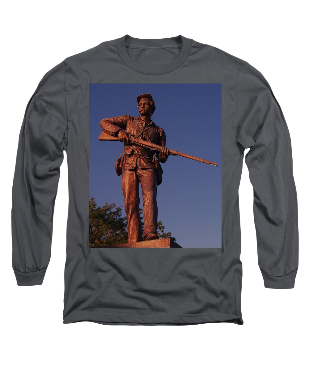 Gettysburg Long Sleeve T-Shirt featuring the photograph Gettysburg Statue by Eric Schiabor