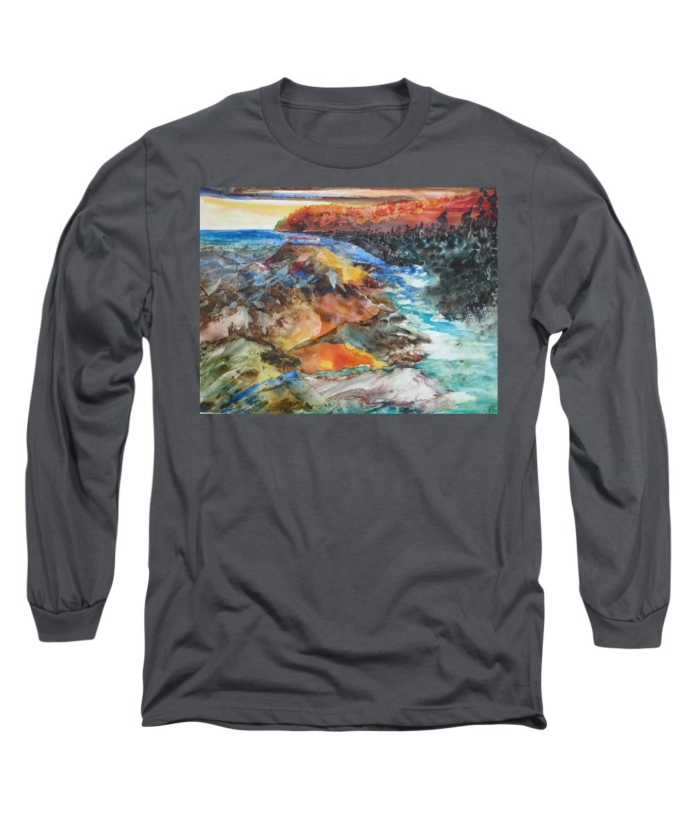 Abstract Long Sleeve T-Shirt featuring the painting Glacial Meltdown by Ruth Kamenev