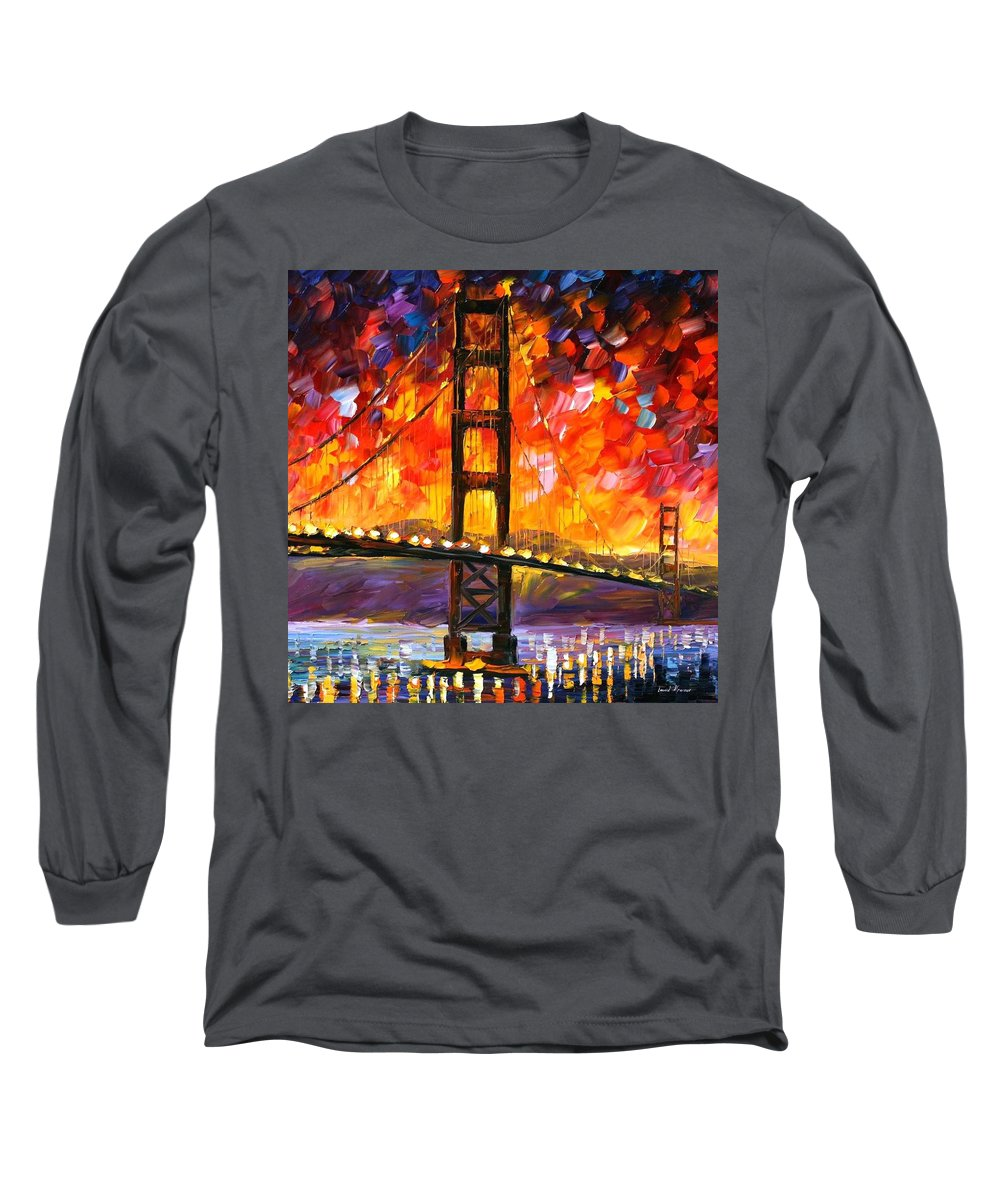 City Long Sleeve T-Shirt featuring the painting Golden Gate Bridge by Leonid Afremov