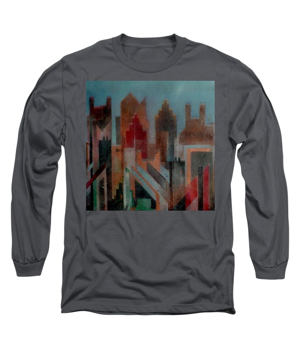Abstract Long Sleeve T-Shirt featuring the painting Gothem City by Anita Burgermeister