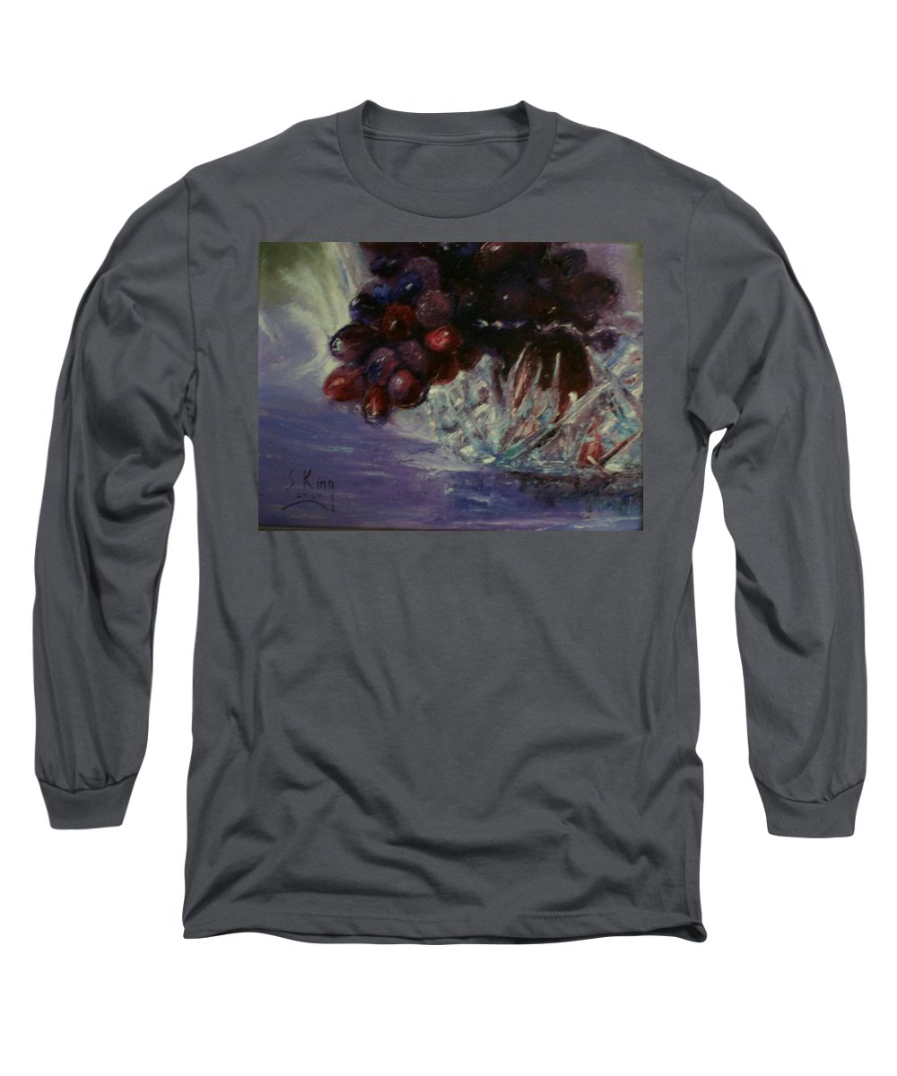 Still Life Long Sleeve T-Shirt featuring the painting Grapes And Glass by Stephen King