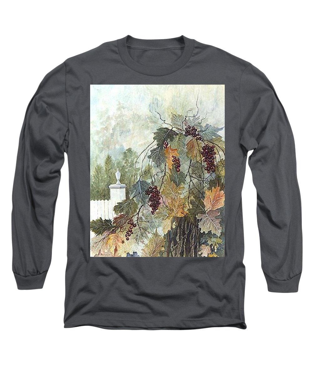 Fruit Long Sleeve T-Shirt featuring the painting Grapevine Topiary by Ben Kiger
