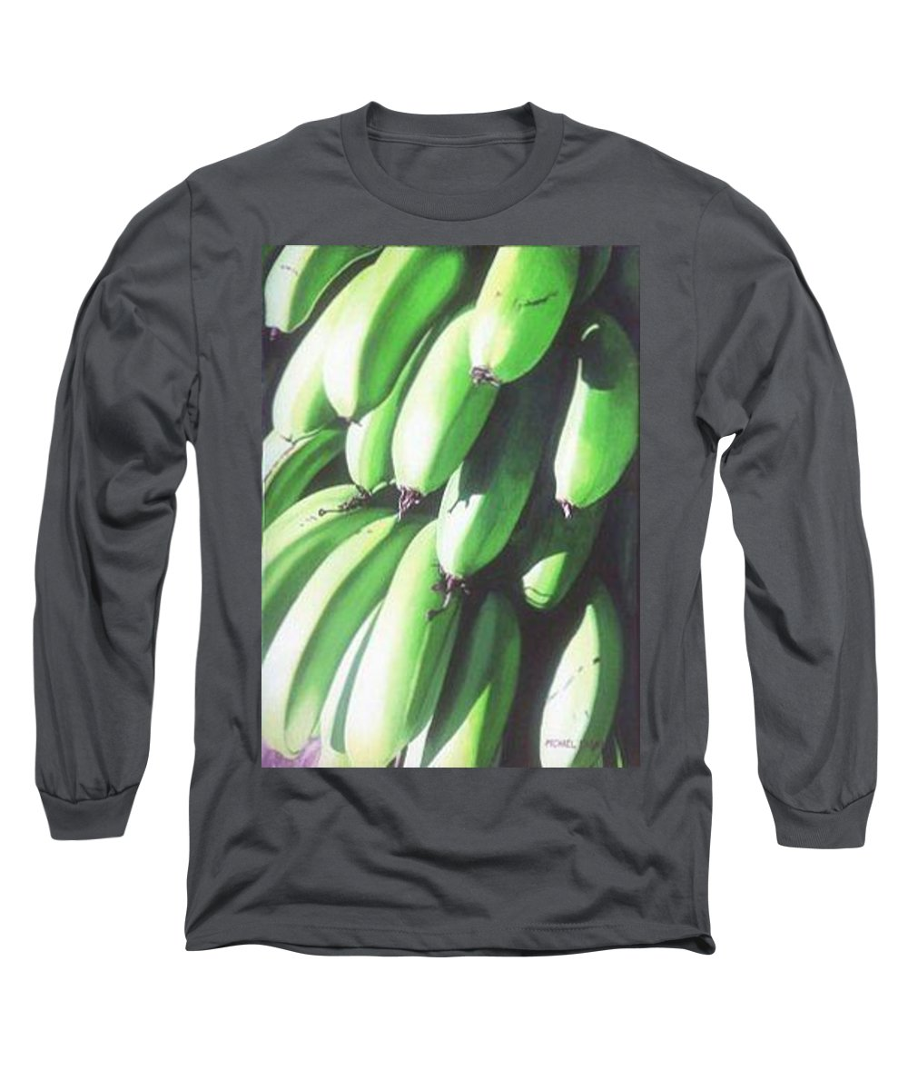 Hyperrealism Long Sleeve T-Shirt featuring the painting Green Bananas I by Michael Earney