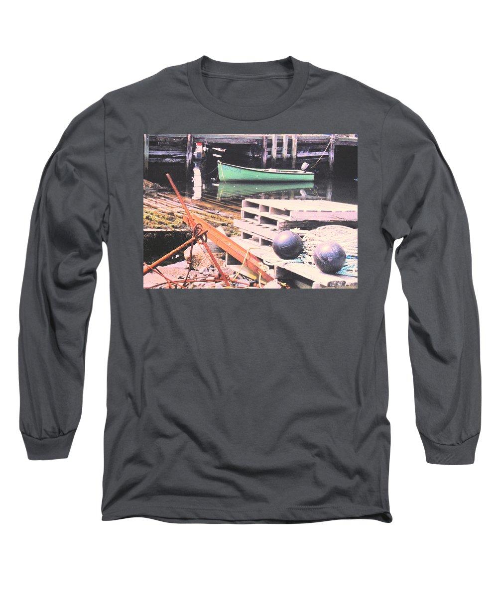 Green Long Sleeve T-Shirt featuring the photograph Green Boat by Ian MacDonald