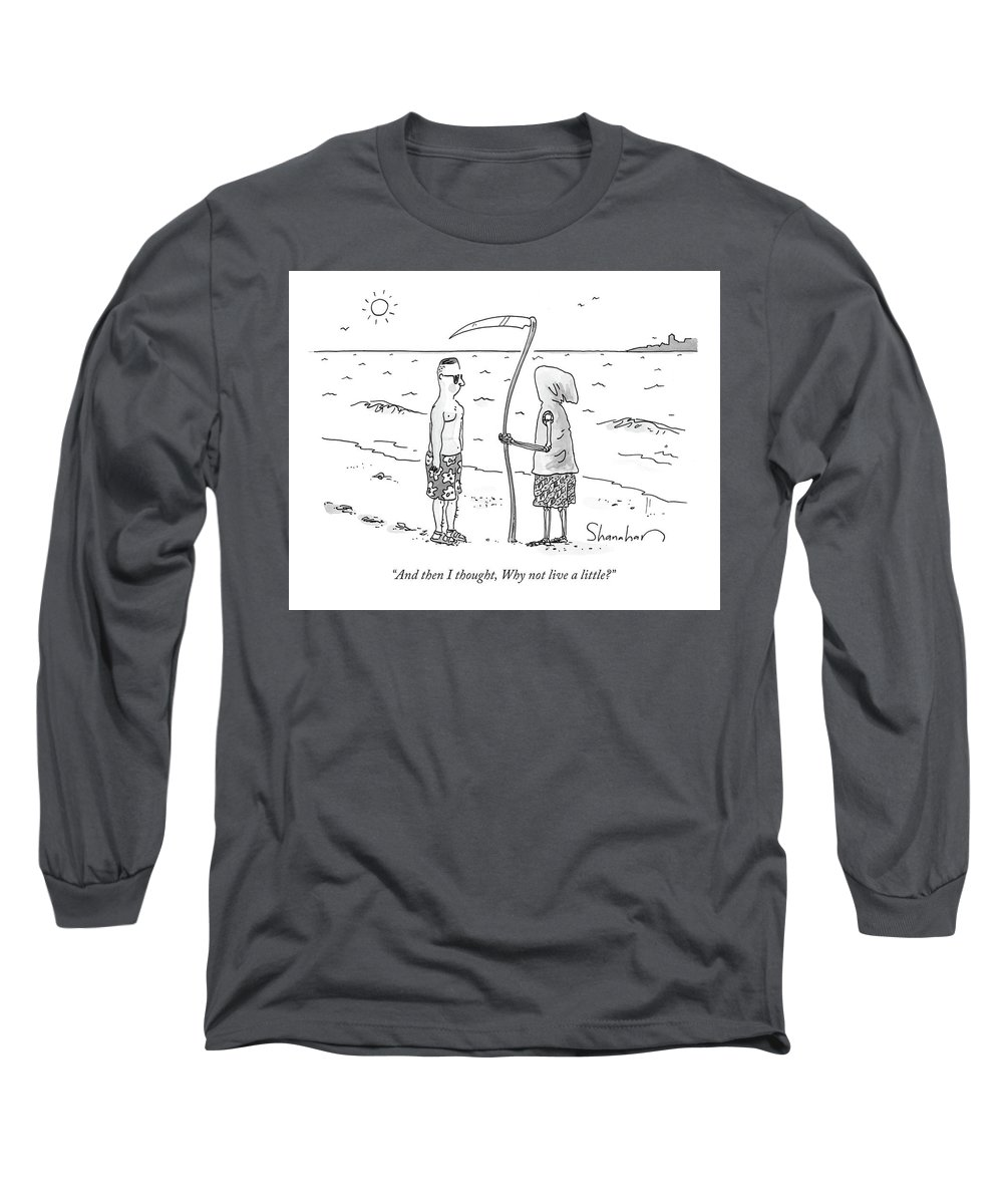 Death Long Sleeve T-Shirt featuring the drawing Grim Reaper Wearing A Swimsuit At The Beach. by Danny Shanahan