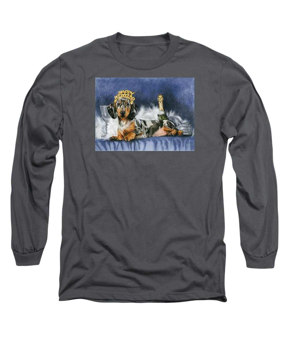 Dogs Long Sleeve T-Shirt featuring the mixed media Happy New Year by Barbara Keith