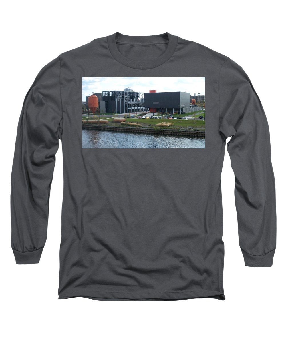 Architechture Long Sleeve T-Shirt featuring the photograph Harley Museum Milwaukee by Anita Burgermeister