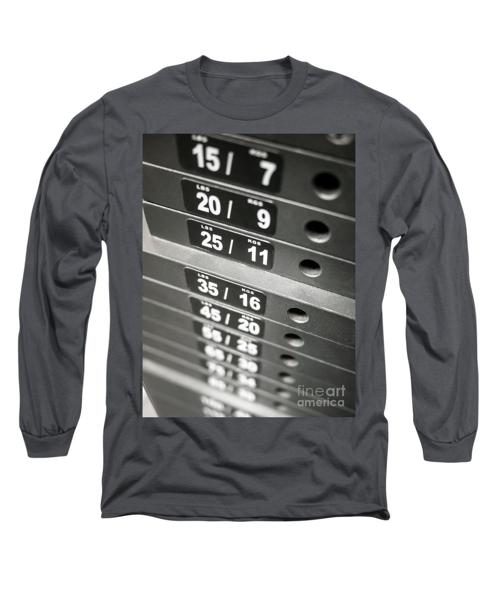 Kgs Long Sleeve T-Shirt featuring the photograph Healthclub Equipment Weight Plate Stack by Paul Velgos