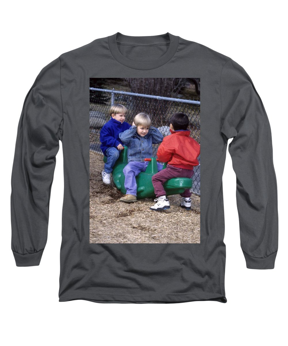 Children Long Sleeve T-Shirt featuring the photograph Hear No Evil See No Evil Speak No Evil by Laurie Paci