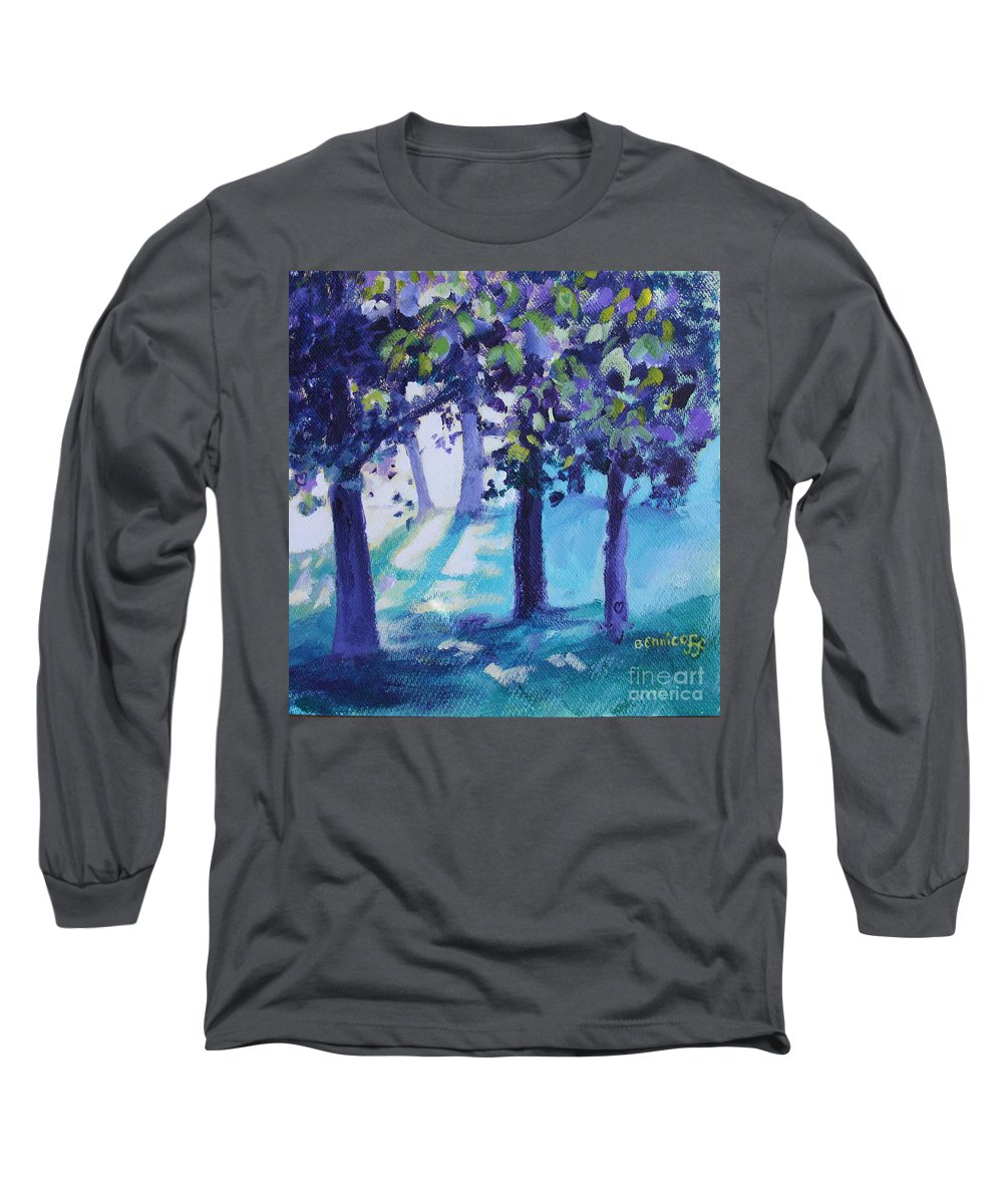 Expressionist Long Sleeve T-Shirt featuring the painting Heart Of The Forest by Jan Bennicoff