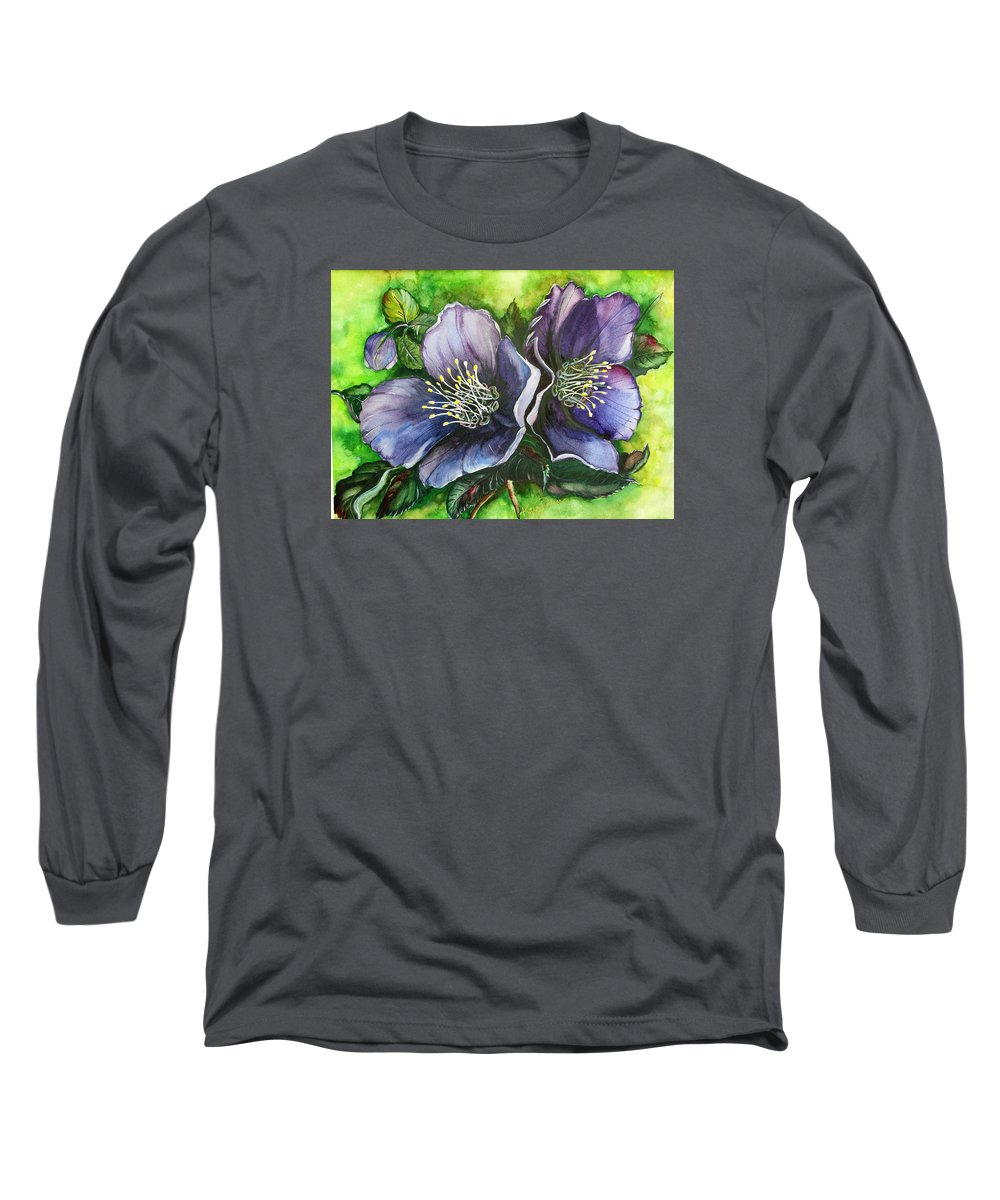Flower Painting Botanical Painting Original W/c Painting Helleborous Painting Long Sleeve T-Shirt featuring the painting Helleborous Blue Lady by Karin Dawn Kelshall- Best