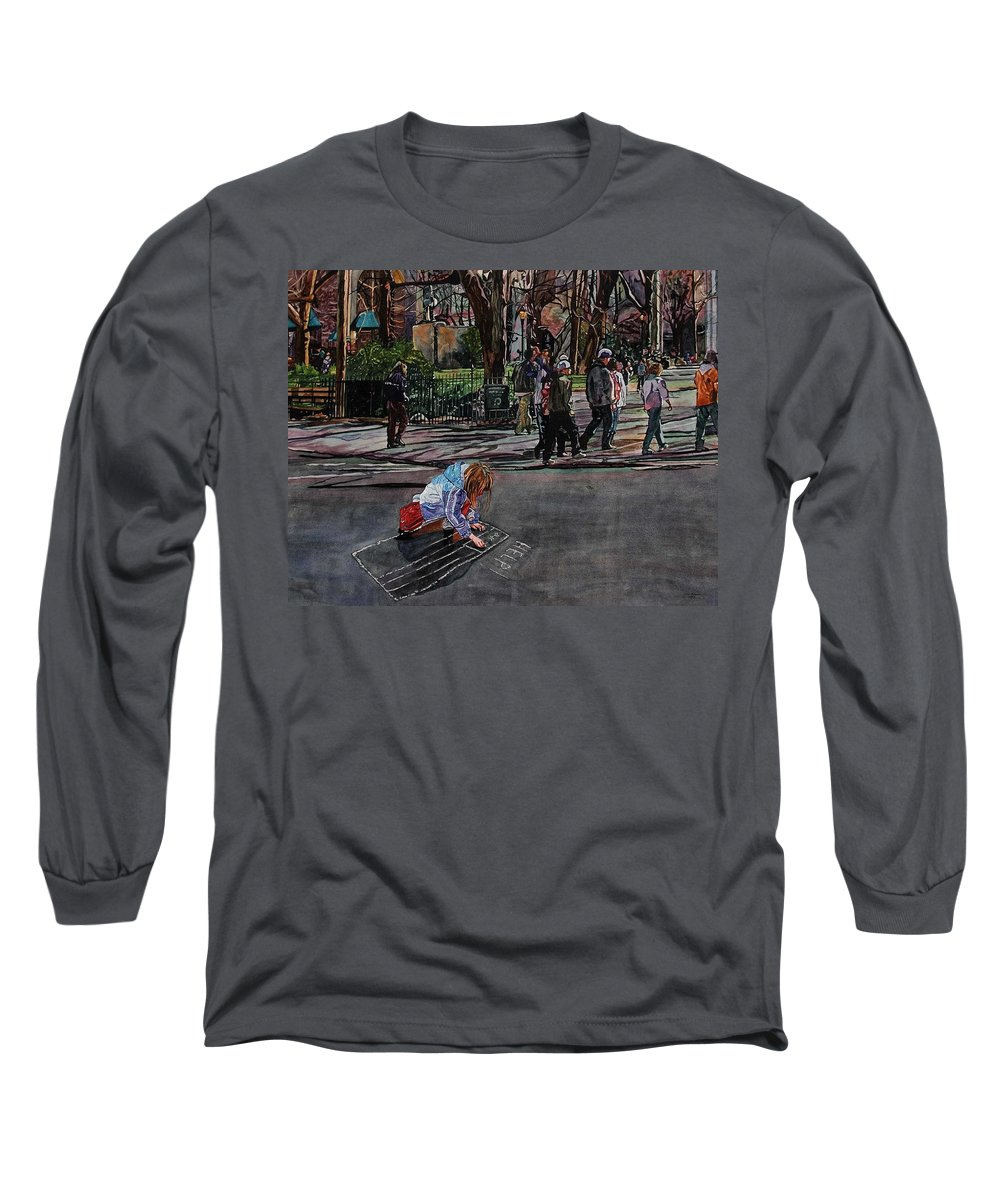 Political Long Sleeve T-Shirt featuring the painting Help by Valerie Patterson