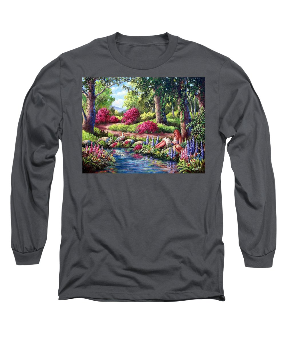 Read Long Sleeve T-Shirt featuring the painting Her Reading Hideaway by David G Paul