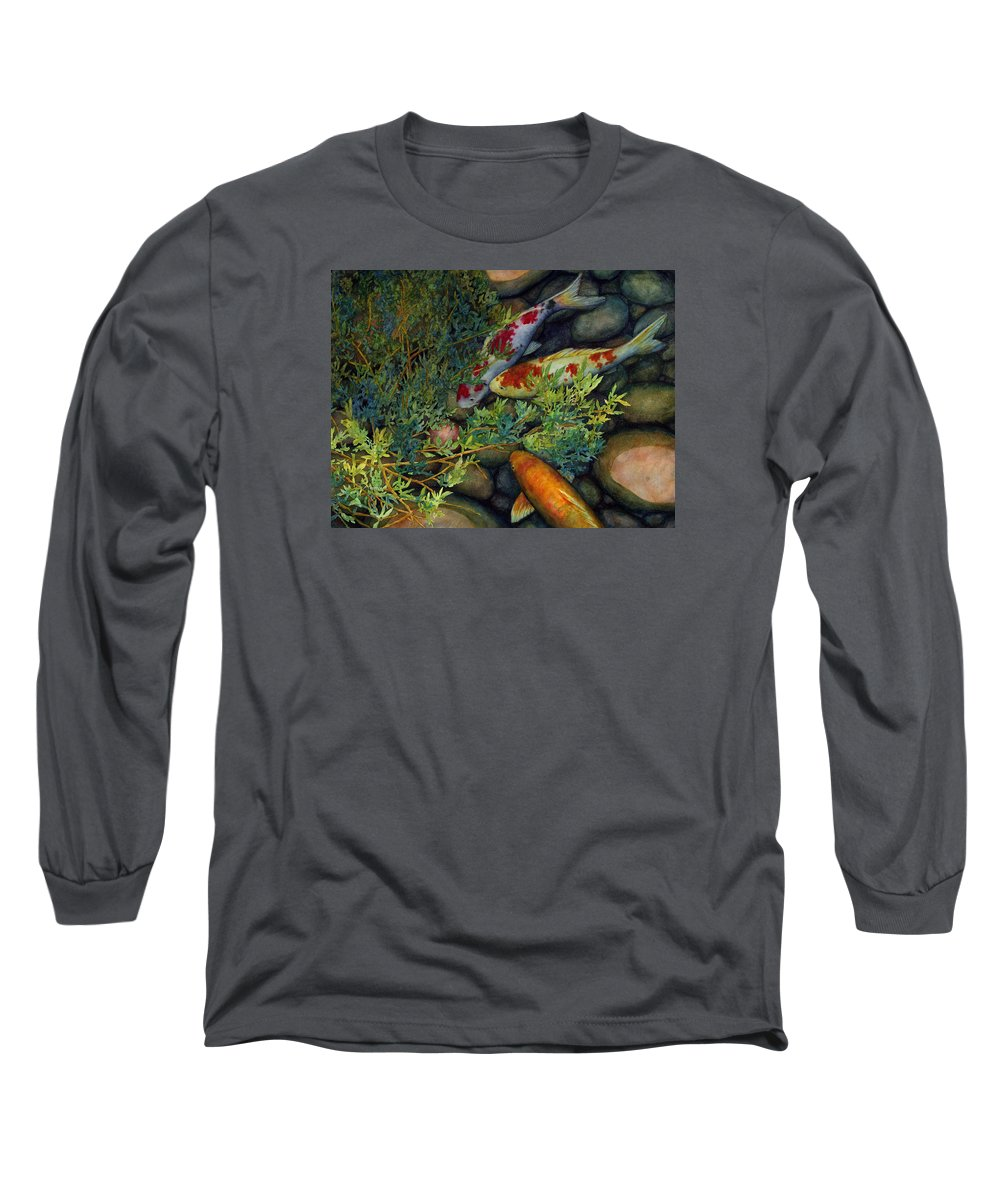 Koi Long Sleeve T-Shirt featuring the painting Hidden Treasure by Hailey E Herrera