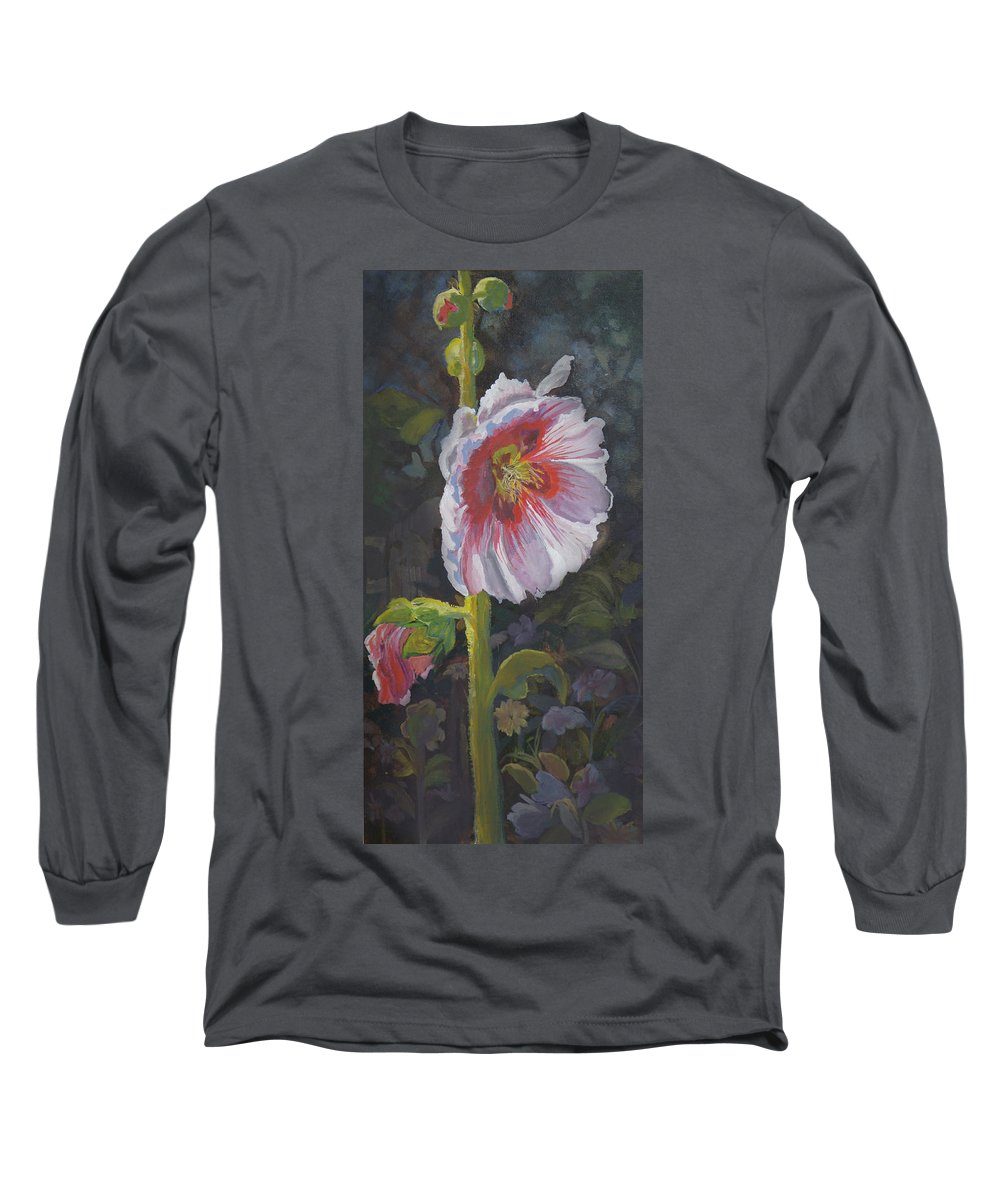 Flower Long Sleeve T-Shirt featuring the painting Hollyhock by Heather Coen