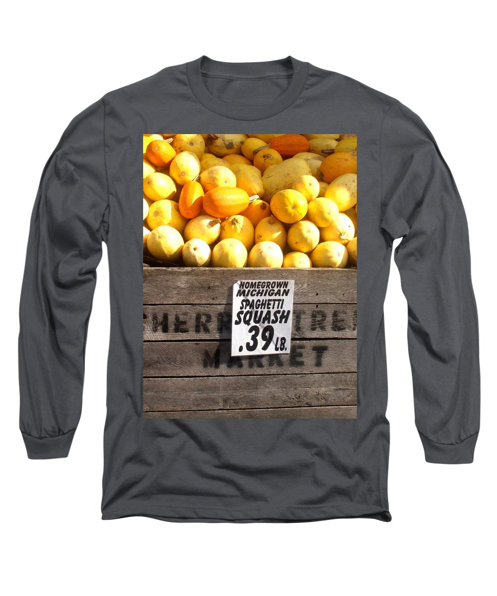 Michigan Long Sleeve T-Shirt featuring the photograph Homegrown Michigan Spaghetti Squash by Wayne Potrafka
