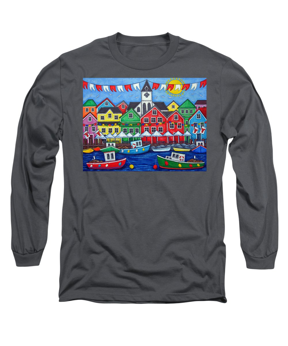 Boats Canada Colorful Docks Festival Fishing Flags Green Harbor Harbour Long Sleeve T-Shirt featuring the painting Hometown Festival by Lisa Lorenz