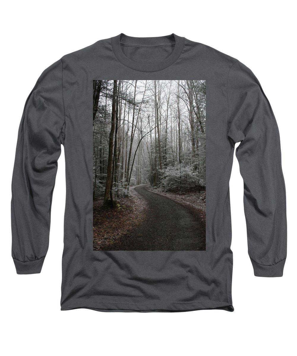 Nature Road Country Woods Forest Tree Trees Snow Winter Peaceful Quite Path White Forest Drive Long Sleeve T-Shirt featuring the photograph I Am The Way by Andrei Shliakhau