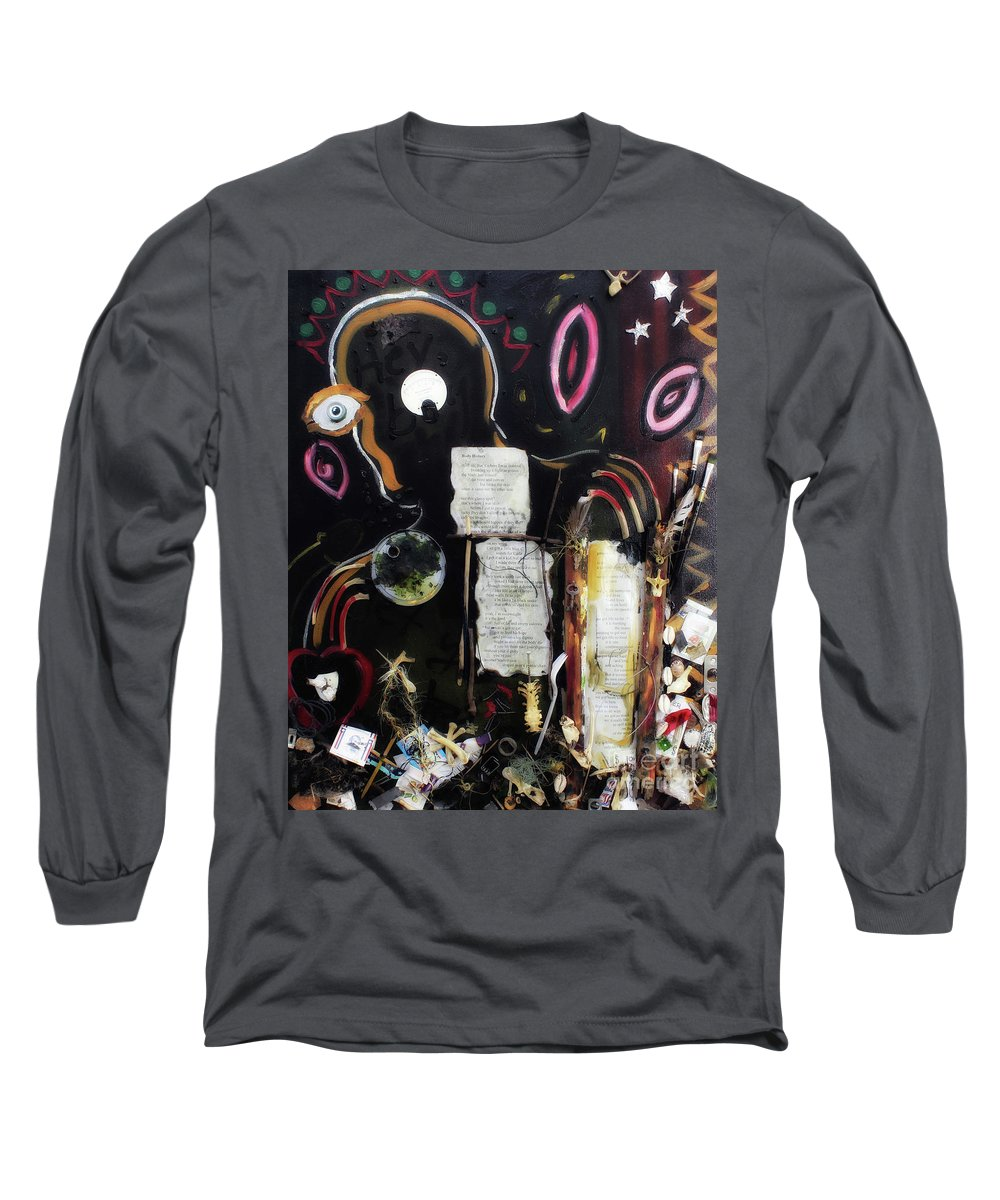 Mixed Media On Canvas Long Sleeve T-Shirt featuring the painting If Boys Could Cry by Katherine Fishburn