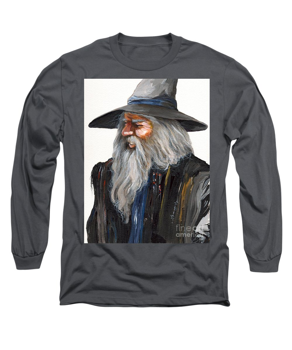 Fantasy Art Long Sleeve T-Shirt featuring the painting Impressionist Wizard by J W Baker