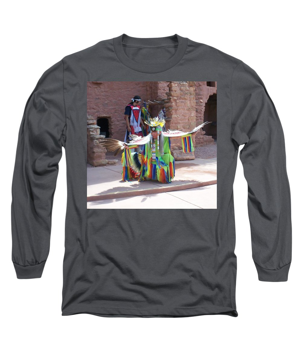 Indian Dancer Long Sleeve T-Shirt featuring the photograph Indian Dancer by Anita Burgermeister