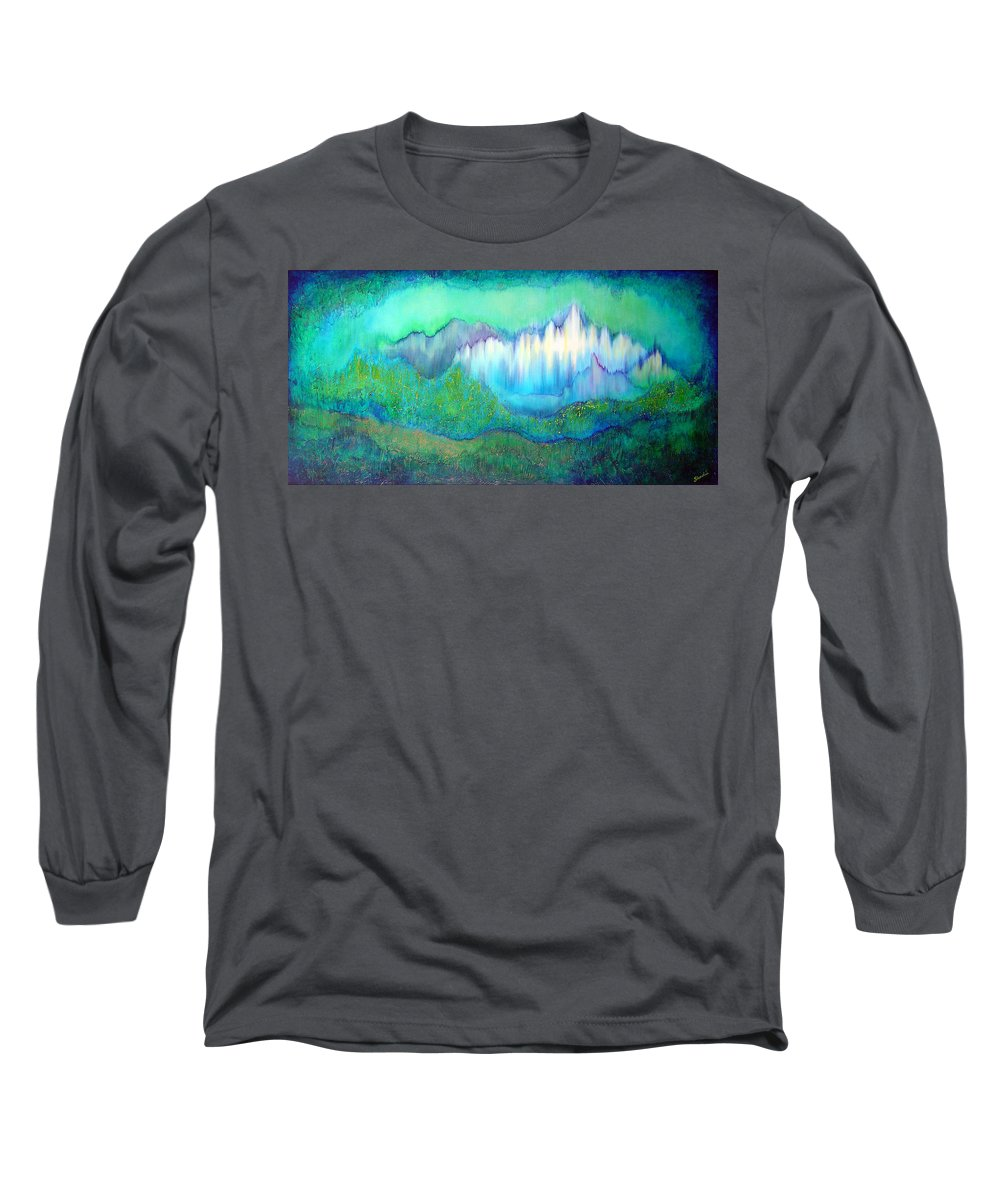 Blue Long Sleeve T-Shirt featuring the painting Into The Ocean by Shadia Derbyshire