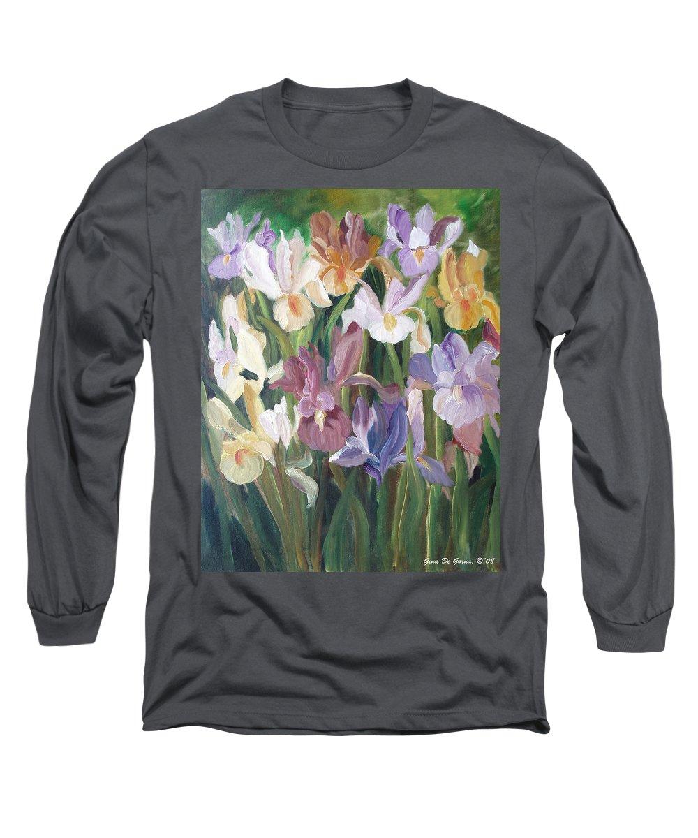 Irises Long Sleeve T-Shirt featuring the painting Irises by Gina De Gorna