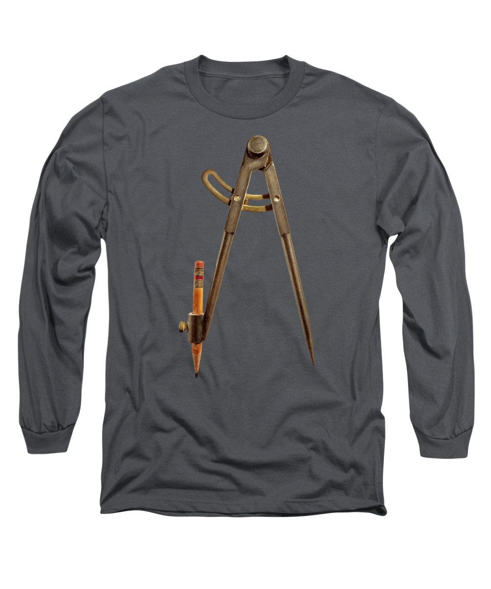 Industry Long Sleeve T-Shirt featuring the photograph Iron Compass Back On Black by YoPedro